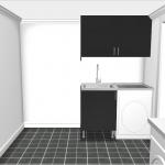Till vänster har vi idag en dusch och vi kommer behålla den möjligheten. Därför har vi bara cirka 120 centimeter att spela på till höger om duschen och därför kan vi inte få in både torktumlare, tvättmaskin och diskbänk längst med den väggen.