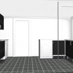 Öppningen leder ut till en korridor, trappan till övervåningen till höger och resten av källaren till vänster.