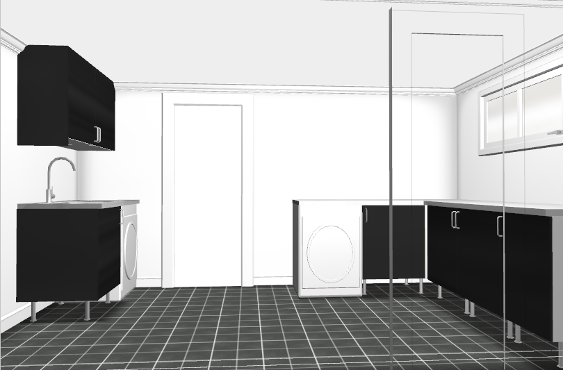 Planerar och ritar tvättstuga med IKEA planeringsverktyg i 3D ...