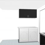 Tvättmaskinen och torktumlaren kommer att få stå bredvid varandra. Bänkskiva uppepå för arbetsyta och väggskåp över. På grund av takhöjden kommer vi förmodligen välja fläktskåp som är 57 centimeter istället för väggskåp som är 70 centimeter. Till vänster har vi idag en duschutrymme som vi kommer att behålla.